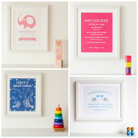 Papier Prints Babys First Christmas Present for New Baby, Twins Gift, Personalised Baby Prints