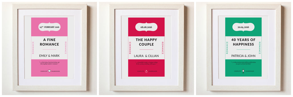 Beautiful personalised Classic Paperback Penguin Book Design - Wedding Print, Romantic and Valentines Gift, Wedding Anniversary Gift Prints for 30th, 40th, 50th wedding anniversaries