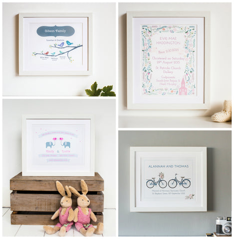 Papier Prints New Personalised Gift Prints for Christening Gifts, Twins Gifts, Wedding Gifts and Family Gifts