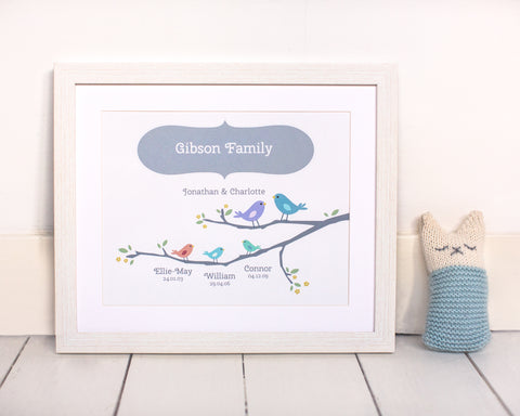 Little Birdies  Print-Personalised Family Gift for Christmas