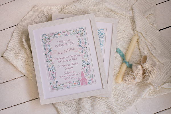 Christening Present Personalised Prints- Designed and Made in Ireland, Beautiful Gifts