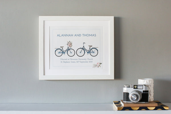 Two Bicycles Personlised Wedding Present Print