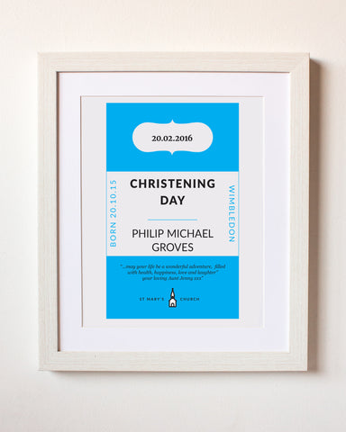 Classic Paperback Personalised Christening Gift Print
