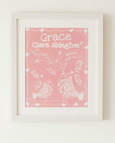 Birdsong - Baby Girl, Personalised Print