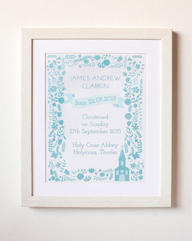 Christening Day Print- Baby Boy Personalised Christening Present