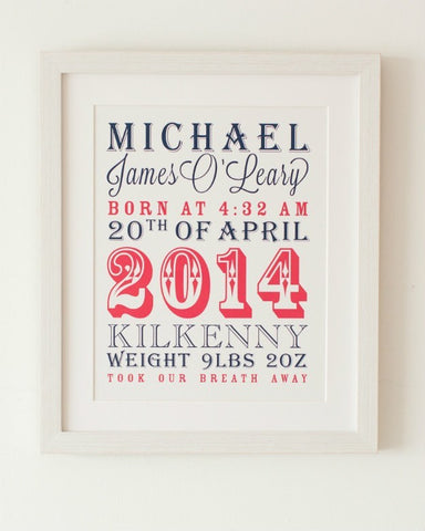 Circus - Baby Boy, Personalised New Baby Print