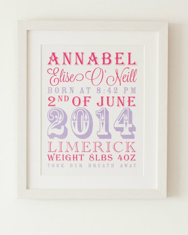Circus - Baby Girl, Personalised New Baby Print