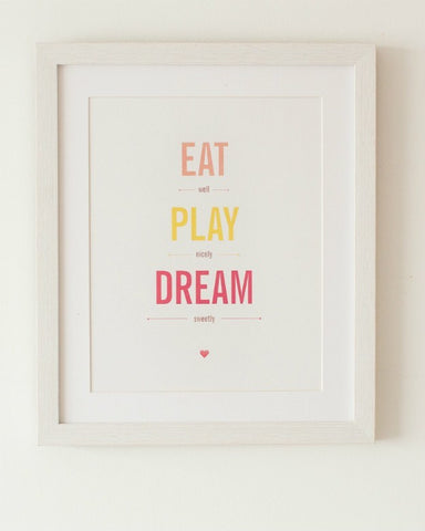 Eat, Play, Dream - Baby Frame Personalised