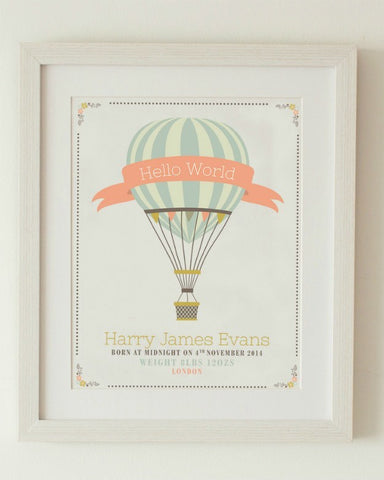 """Hello World"" Vintage Hot Air Balloon Personalised Print"