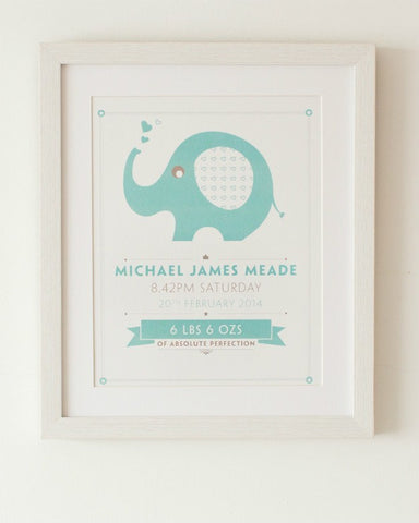 Nelly - Baby Boy, Personalised Nursery Print