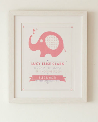Nelly - Baby Girl, Personalised Nursery Print