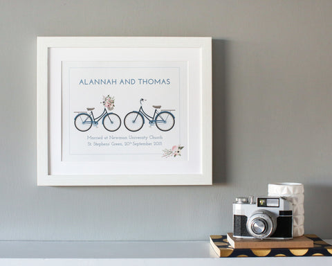 """Two Bicycles"" Wedding & Engagement Print - Papier Prints"