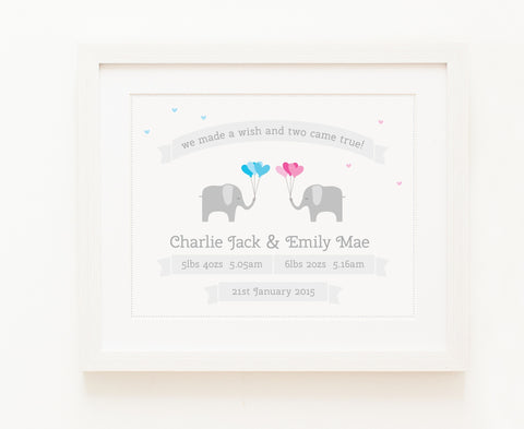 Two Came True - Baby Boy & Girl Twins, Personalised Print