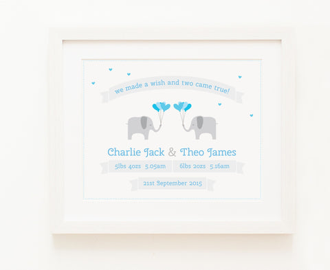 Two Came True - Baby Boy Twins Personalised Print | Twins Present