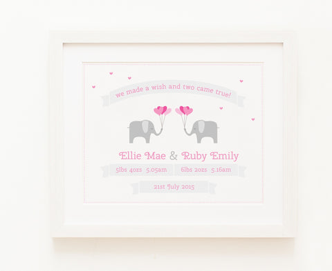Two Came True - Baby Girl Twins, Personalised Print