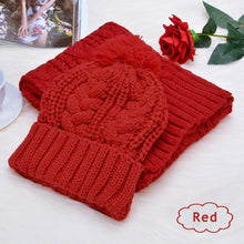 Load image into Gallery viewer, Women's wool scarf hat set 8-shaped twist hat two-piece suit
