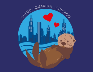Sea Otter and Chicago Skyline Tote Bag
