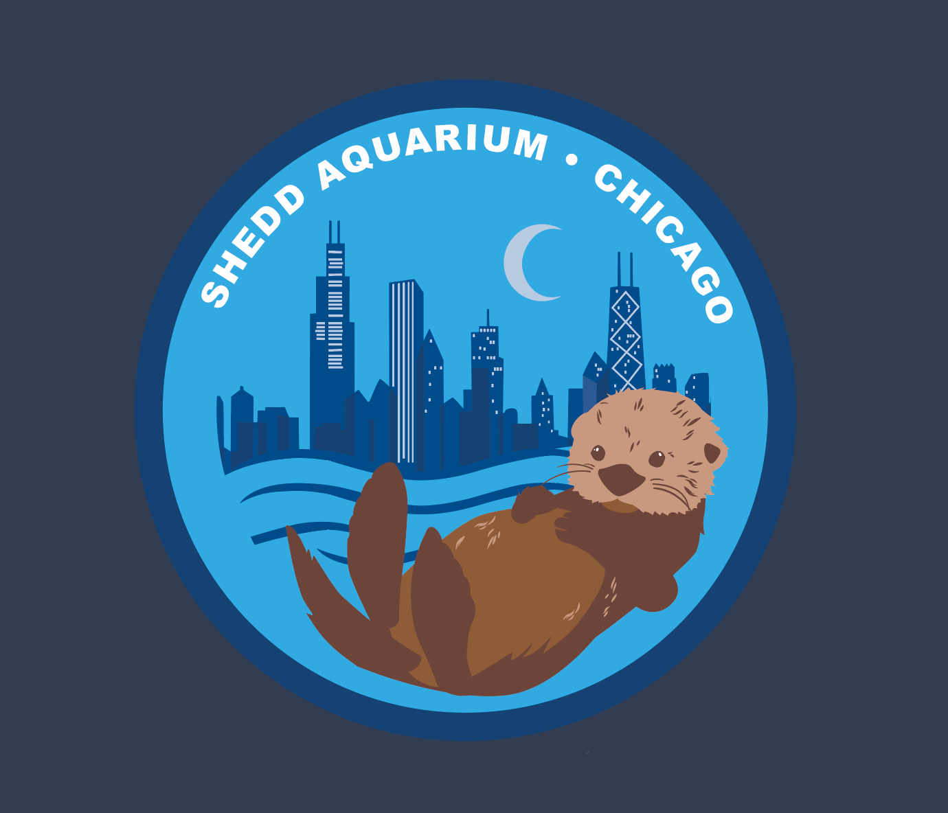 Sea Otter and Chicago Skyline Circle Patch