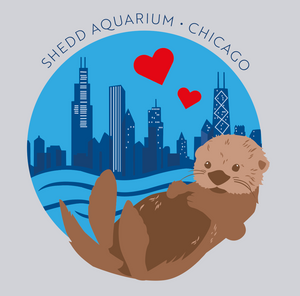 Sea Otter Chicago Skyline with Hearts Womens T-Shirt