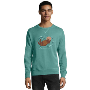 Sea Otter Floating Adult Crew Neck Sweatshirt