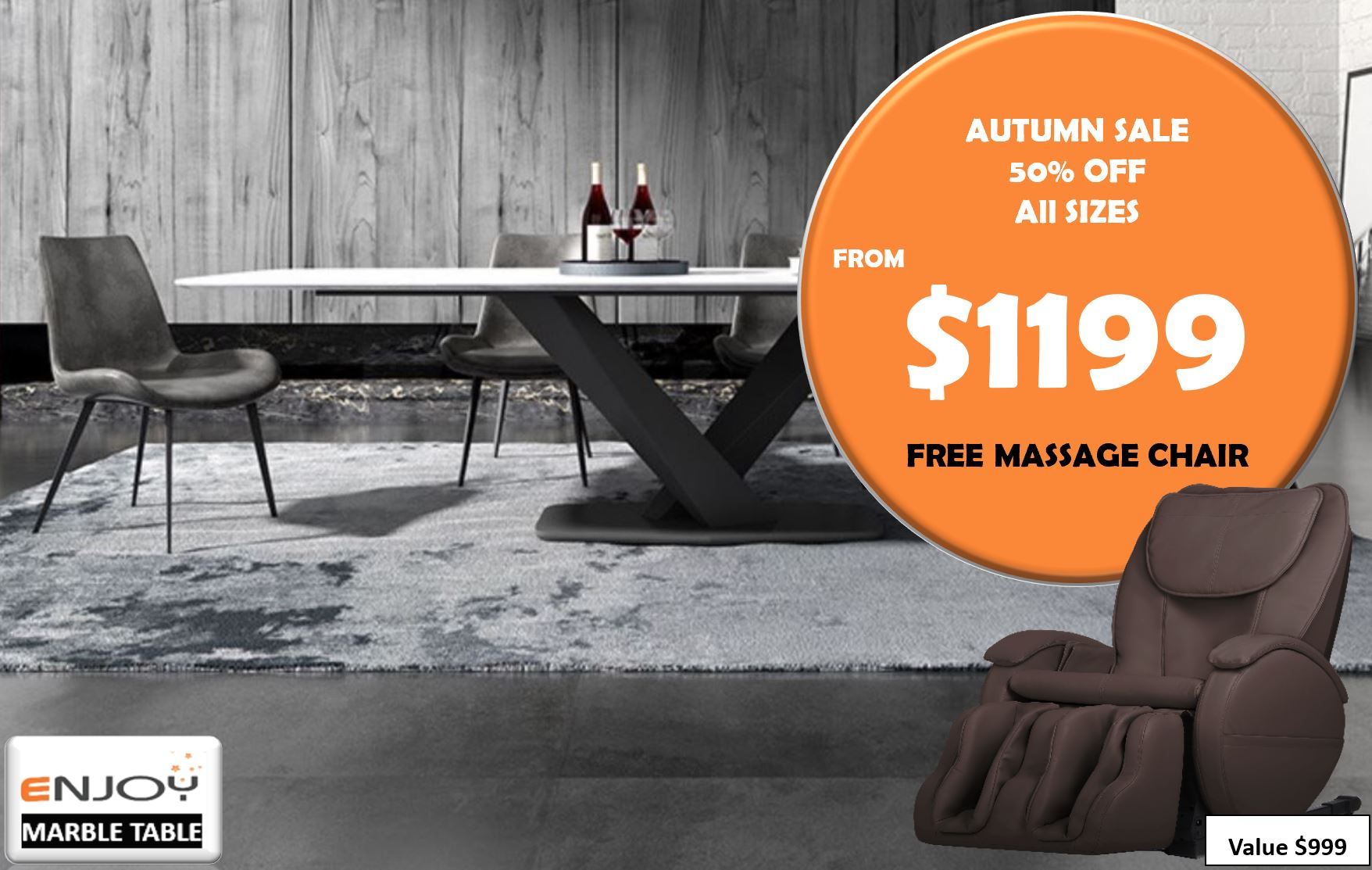 ORDINO Venato Marble Dining Table (Available in Rectangular & Round Dining Table)