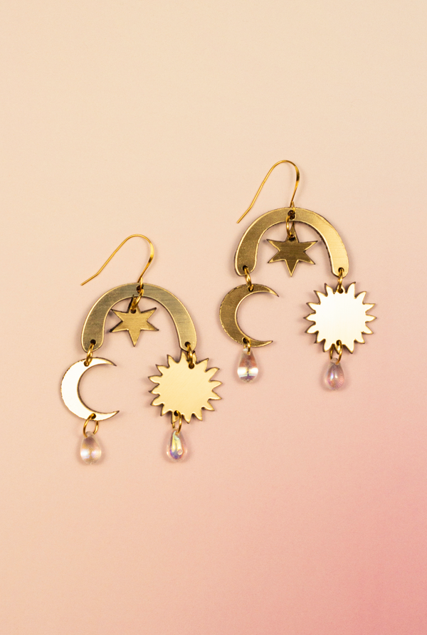 Golden Sun and Moon Earrings