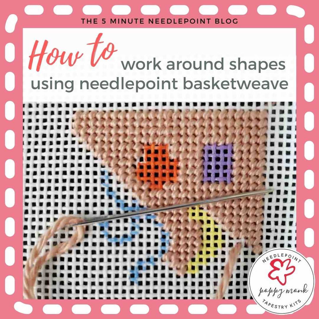 How To Work Needlepoint Basketweave Stitch Around Shapes