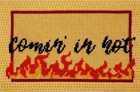 Comin In Hot needlepoint kit with Parisian stitch frame