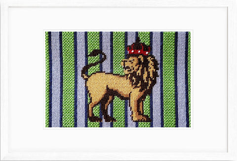 Sir Lion Heart needlepoint kit with a small space for a Leaf Variation stitch