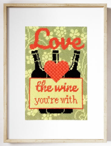 Love The Wine You're With needlepoint kit with Double Woven stitch