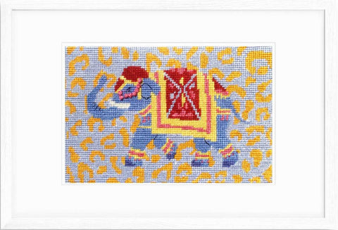 "Elephant needlepoint kit 6"" x 4"" on 18 mesh with silk threads."