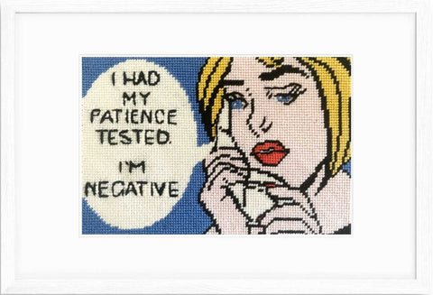 "I Had My Patience Tested needlepoint kit with silk threads, 6"" x 4"" on 18 mesh."