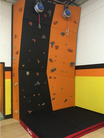 The two lane climbing wall with TRUBLUE Auto Belays
