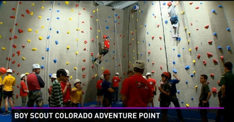 Indoor Climbing Wall built by Eldorado Climbing Walls for the new Boy Scout Colorado Adventure Point in Lakewood, CO.
