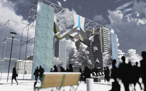 View of the competition structure for the UIAA Ice Climbing World Cup in Civic Center Park in Denver CO