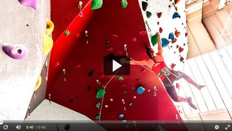 Screen capture from the Cornell COE video of the new Lindseth Climbing Center climbing walls.