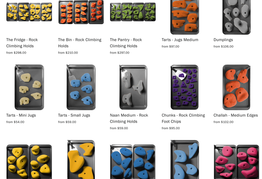 rock climbing holds for sale in 20 different colors