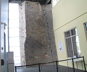Catonsville Family Center Y rock climbing wall designed and constructed by Eldorado Climbing Walls