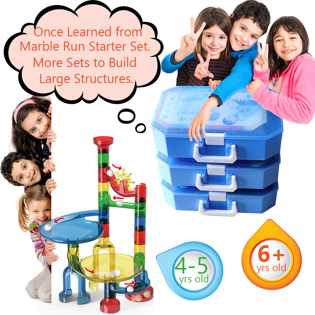 Marble Run Building Set - Marble Race Tracks Toys for Kids 4, 5, 6 Year Old, Educational STEM Game for Girls and Boys, Deluxe Building Kit for Birthday & Christmas