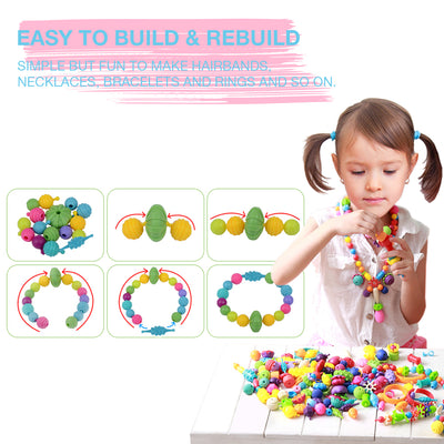 Pop Beads, Kids' Jewelry Making Kits - Arts and Crafts for Girls Age 3, 4, 5+ Year Old Toys, DIY Necklace, Bracelet and Headbands, Fashion Fun Creativity Christmas Birthday Gifts (520+ PCS)
