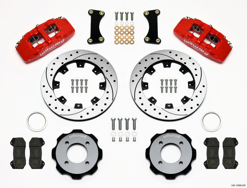 Wilwood Dynapro 6 Front Hat Kit 12.19in Drilled Red 2011 Fiesta