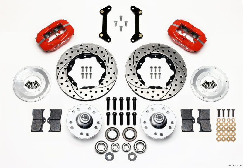 Wilwood Forged Dynalite Front Kit 11.00in Drilled Red 79-87 GM G Body