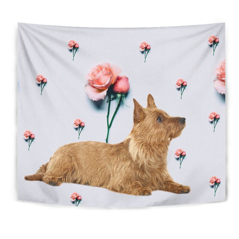 Australian Terrier With Rose Print Tapestry
