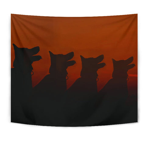 Amazing German Shepherd Dog Shadow Print Tapestry