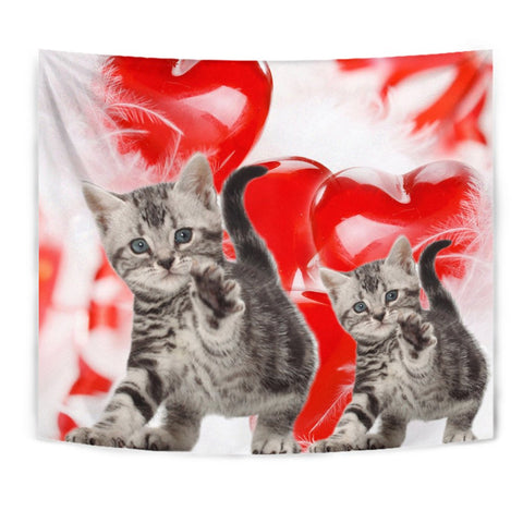 American Shorthair Cat On Red Print Tapestry