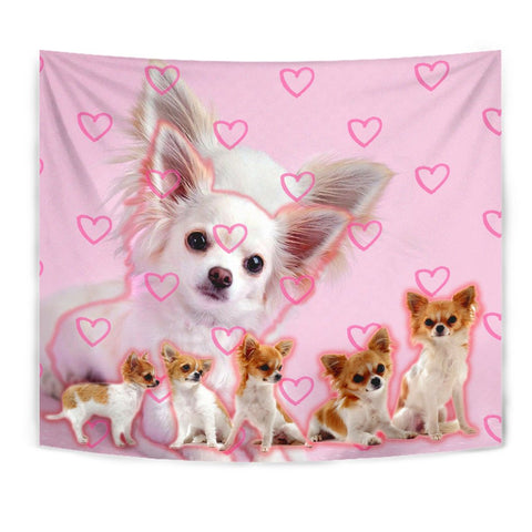 Chihuahua On Pink Print Tapestry