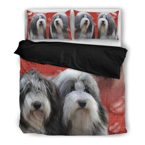 Valentine's Day SpecialBearded Collie Red Print Bedding Set