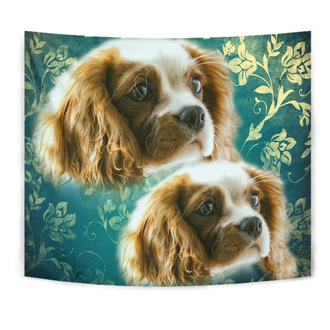 Cavalier King Charles Spaniel On Blue Print Tapestry