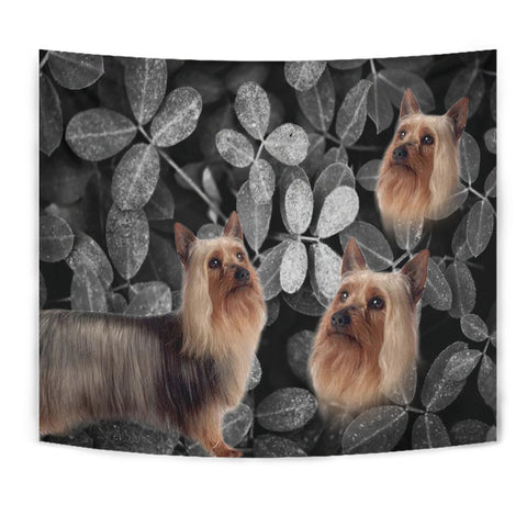 Australian Silky Terrier On Black Print Tapestry