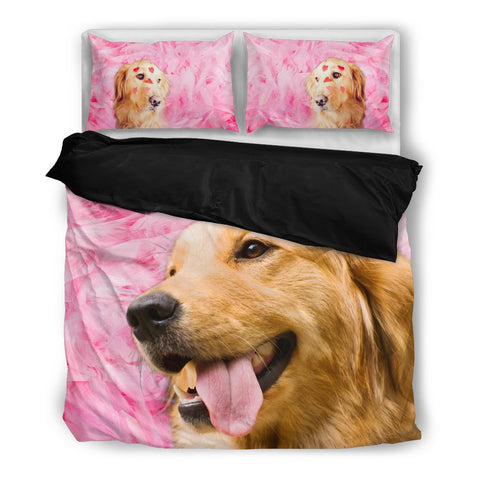 Valentine's Day Special Golden Retriever On Pink Print Bedding Set